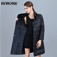 HDHOHR 2018 New Women's Real Mink Fur Coat With Down Double Side Wear Jacket Warm Genuine Leather Strip Long Jackes For Female
