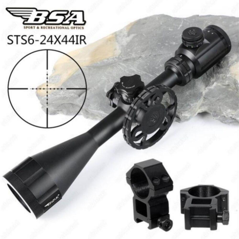 BSA Stealth Tactical STS 6-24X44 IR Ottiche da caccia Cannocchiali da fucile Side Parallax In Vetro Acidato Mil Dot Reticolo di Torrette di Blocco Scope