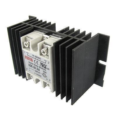 Single Phase Solid State Relay SSR-50DA 3-32V DC 24-380V AC w Aluminum heat sink high quality ac ac 80 250v 24 380v 60a 4 screw terminal 1 phase solid state relay w heatsink