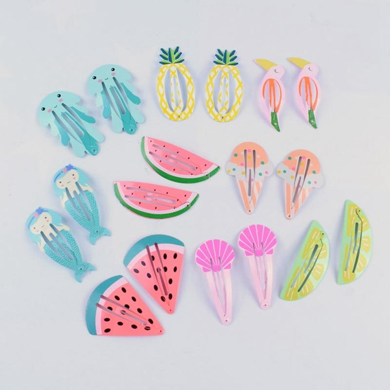 2Pcs/Lot Cute Girls Handmade Character Snap Hair Clips Fruit   Headwear   Hairpins Girl Accessories