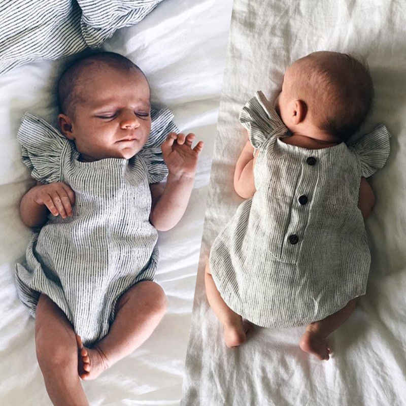 Комбинезоны для новорожденных; одежда для маленьких девочек и мальчиков; комбинезон с оборками; одежда в полоску без рукавов; летний пляжный костюм; Возраст 0-18 месяцев