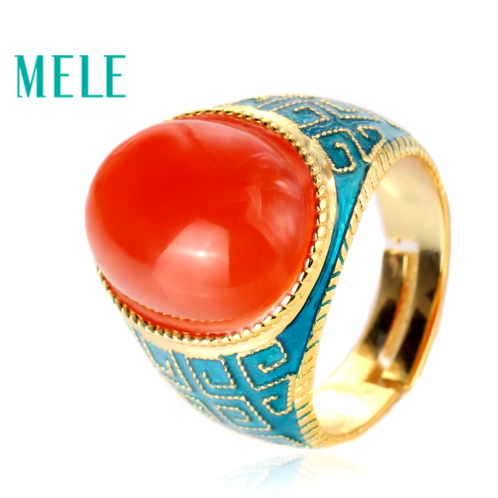 MELE natural south red agate 925 sterling silver ring big oval 13mm 18mm deep red color