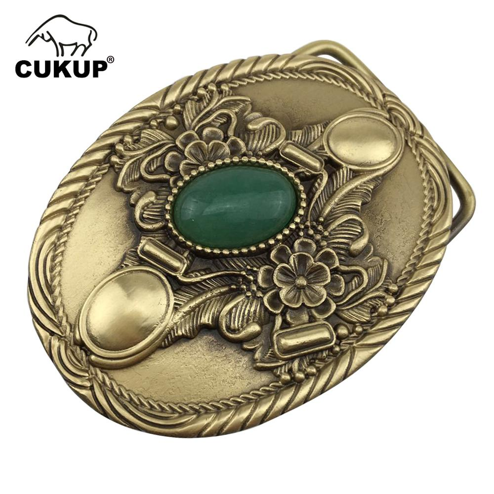 CUKUP Mens Floral Pattern Decorative Brass Buckle Metal Real Jade 3.7-3.9cm Wide Belt Paties Wedding Buckles Only For Men BRK019
