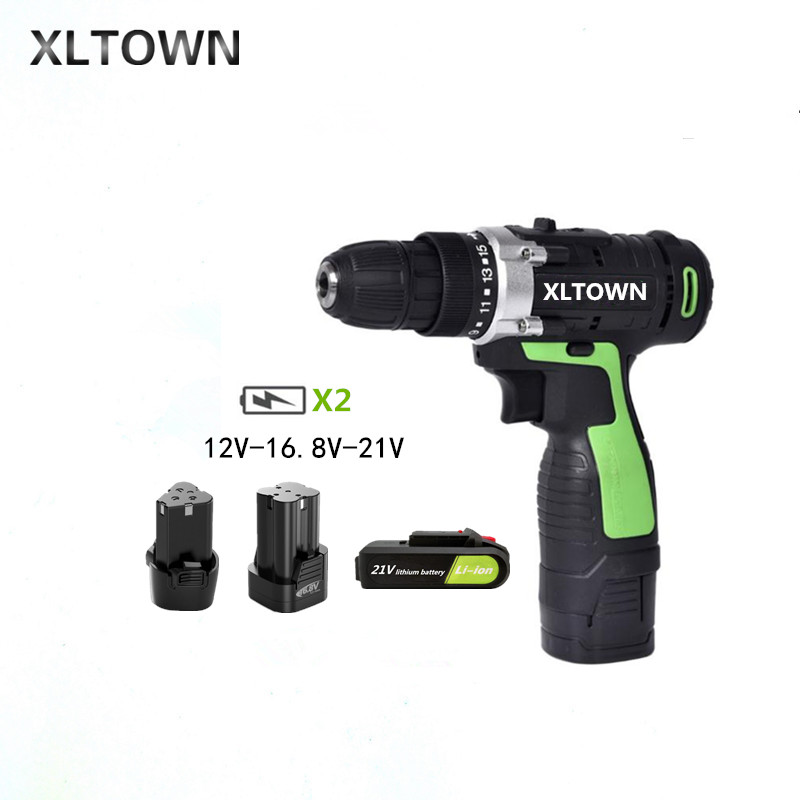 XLTOWN 12/16.8/21v Cordless Electric Drill Rechargeable Lithium Battery Multifunction Electric Screwdriver Household power tool xltown 21v electric screwdriver multifunction rechargeable lithium drill electric household cordless electric drill power tools