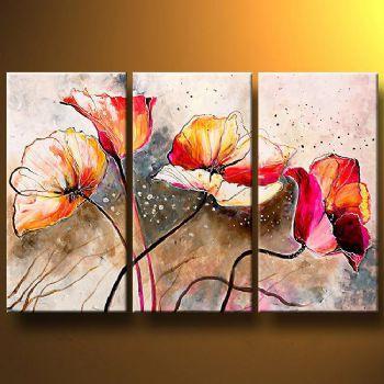 3 piezas pintadas a mano pintura al óleo Amasadas por el viento-módem lienzo pared arte conjunto