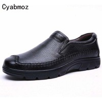 Zapatillas Mens Shoes Flats Loafers Handmade Genuine Leather Italian Style Shoes Creepers Thick Sole Big Size