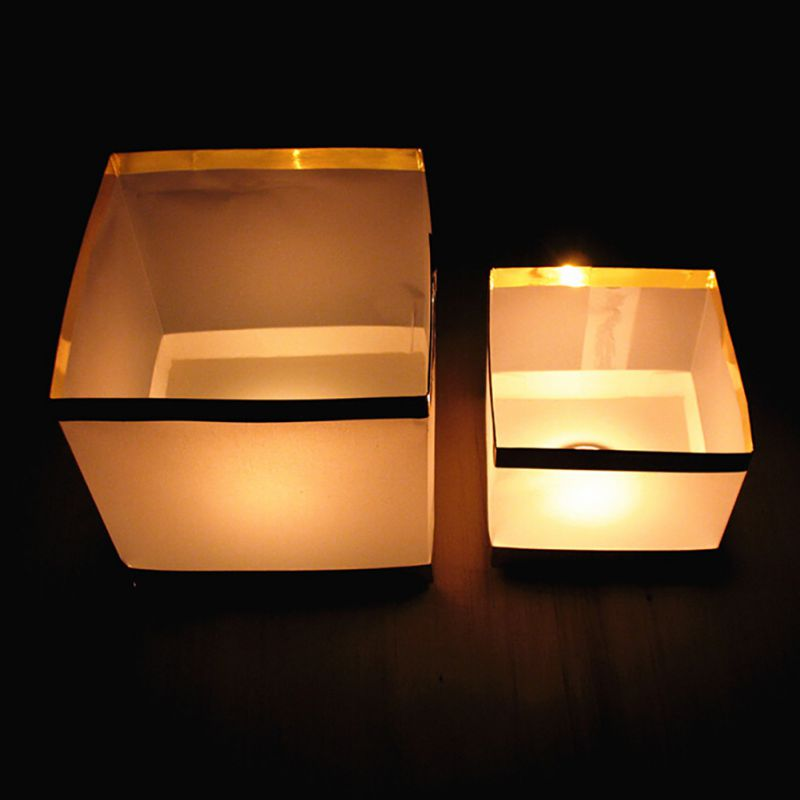 Holiday Lighting Floating Water Square Lantern  Paper Lanterns Floating Candle For Wedding Birthday Party Decoration New