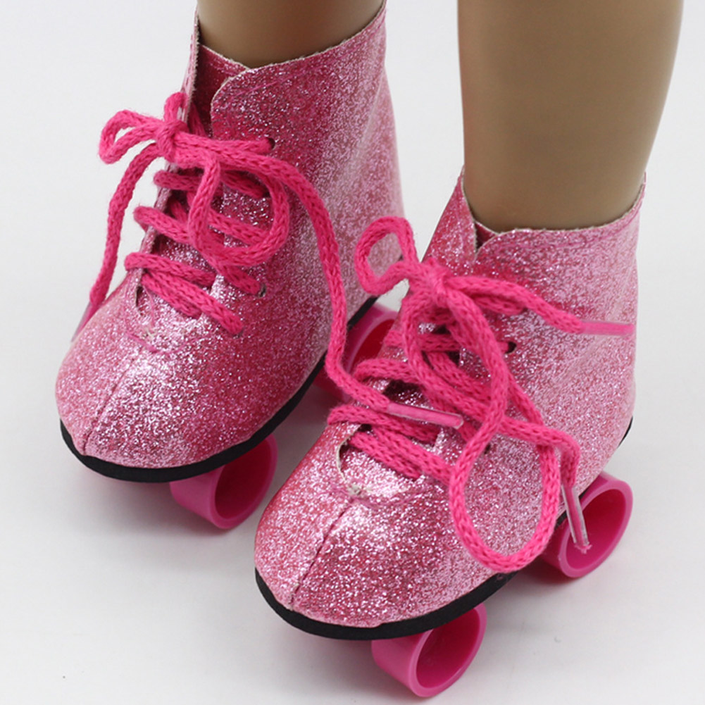 Toys Accessory Entertainment Ice Boots Glitter Roller Skates Fashionable Shoes Skateboard Mini Girls For 18inch American Dolls