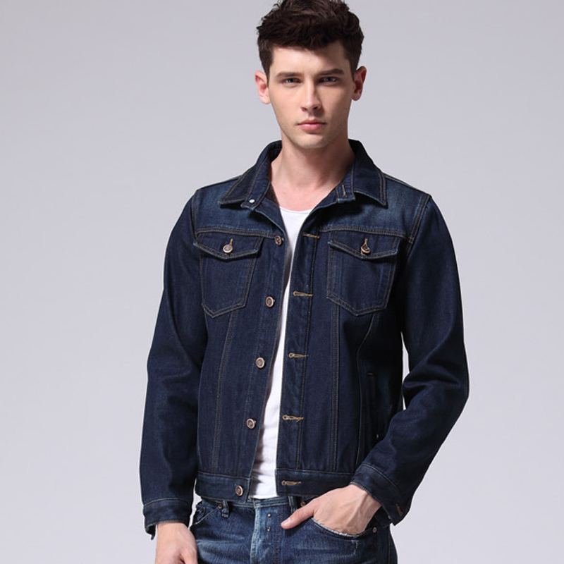 2015 New Casual Mens Vintage Water Washed Dark Blue Fleece Thick ...