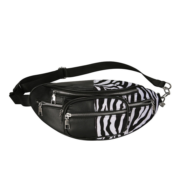 Quality Zebra Pattern Stitching PU leather Chain Waist Bag Bananka Travel Fashion Fanny Pack Women Catwalk Belly Band Belt Bag
