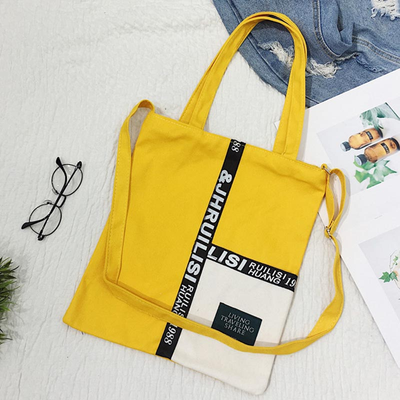 Beauty Patchwork Shopping Bag Single Shoulder Black Yellow Canvas Cloth Bag Zipper Reusable Eco Shopping Bag Bolsas De Tela