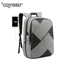 New Double Shoulder Bag With Contrast Stitching Multifunction USB charging 15inch Laptop Backpacks Men Women Leisure Travel Stor