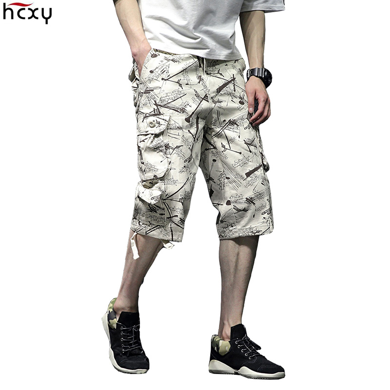 HCXY brand 2018 New arrival Men's Printing Cargo Shorts Male Multi pockets Straight Casual Shorts Men Short Plus Size 29 44