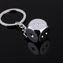 2017 Zinc Alloy Dice Keychain Pendant Creative Personality Ring Silver Keychain Tools Creative Customize Gifts(China)