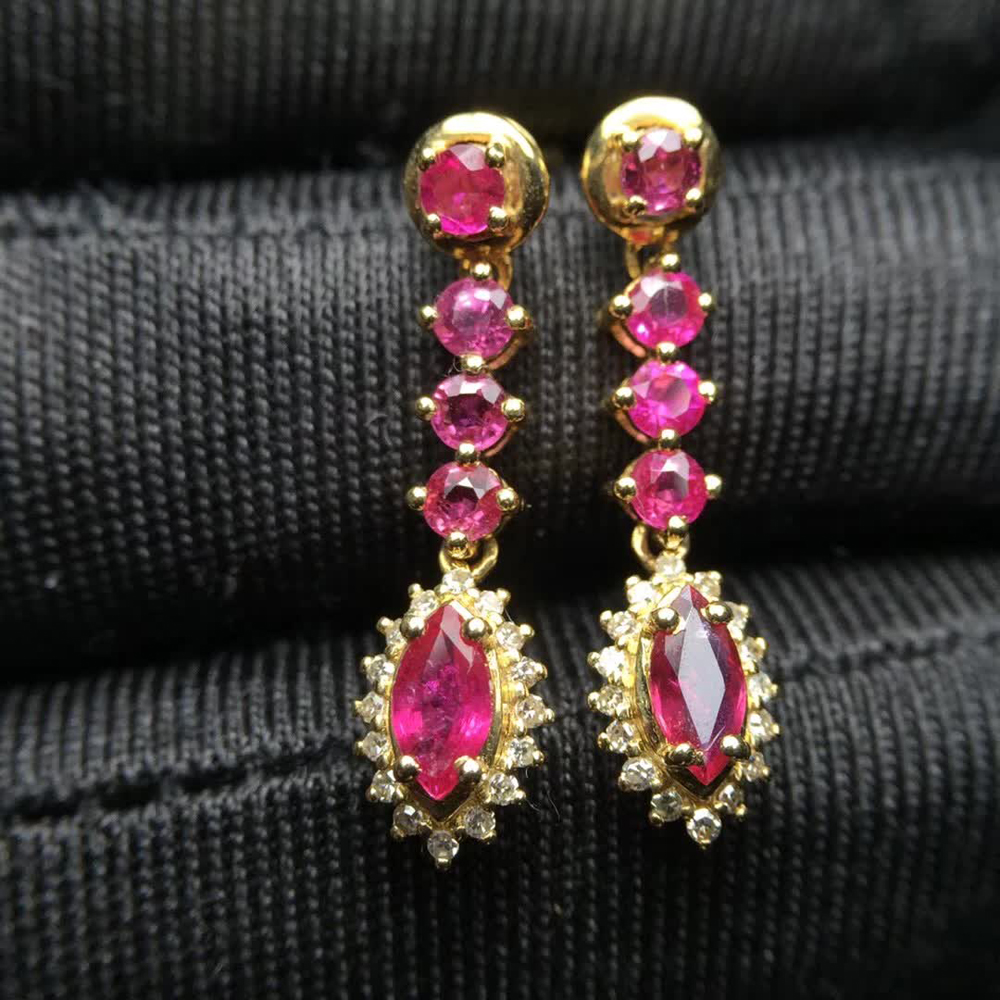 royal luxury trendy 18k gold South Africa real diamond natural red ruby pendant earrings for women engagement wedding party