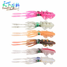 HOT! Squid Fishing Lure 2pc 15cm 16g Bionic Silicone Soft Baits Flexible Swimming Super Temptation 3D Eyes Wobblers