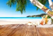 все цены на Laeacco Coconut Tree Seashell Seaside Wooden Board Photography Backdrops Customized Photographic Backgrounds For Photo Studio онлайн