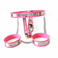 Male Chastity Penis Cock Cage Kit Stainless Steel Invisible Device Penis Underwear With 4 beads Anal Plug And Leg Ring Sets