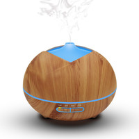 Essential Oil Diffuser Cool Mist Humidifier Wood Grain Ultrasonic Aroma 400ml With 7 Color LED Night