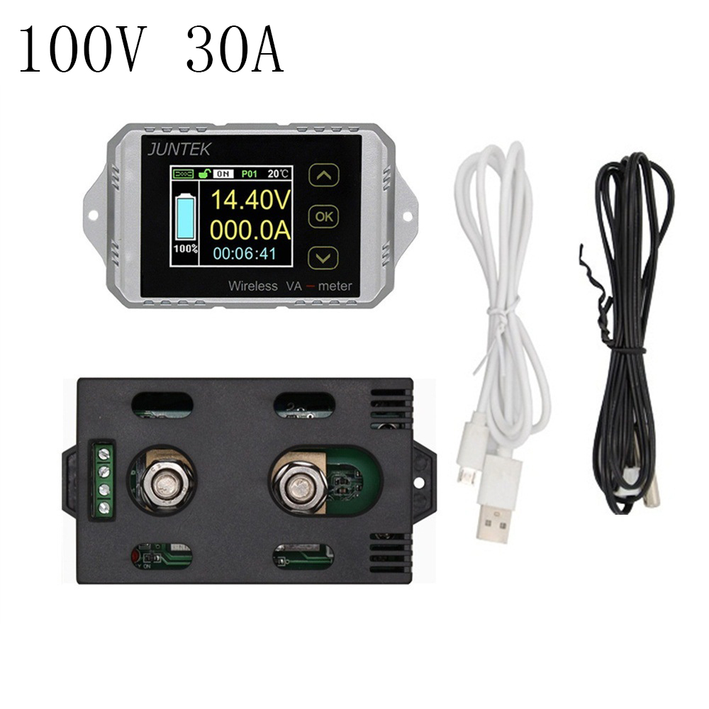 DC 100V 30A Digital Color LCD Wireless Voltage Current meter Power meter KWh Battery Coulometer Capacity Tester Power monitoring multifunction wireless color lcd voltage current meter capacity electricity meter coulometer 0 120v 200a