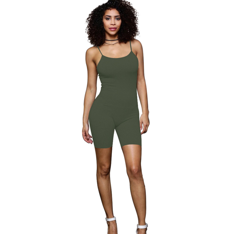 2018 Summer new Rompers women   Jumpsuits   Bodysuits Sleeveless Round neck black green Bodycon Skinny One piece Shorts Sexy Rompers