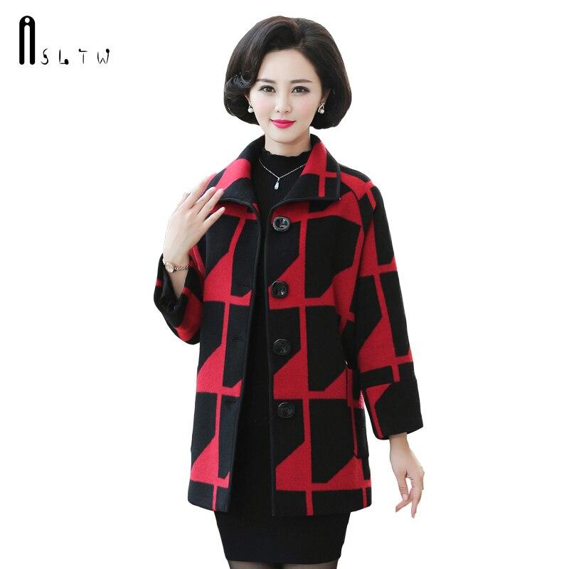 ASLTW hiver femme manteaux moyen-Long femmes en laine à manches longues géométrique laine pardessus nouveau femmes manteau
