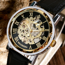 MR. ORKINA Luxury Men Women Mechanical Watches Roman Number Skeleton Steampunk Wristwatches With Black Leather Strap relojes