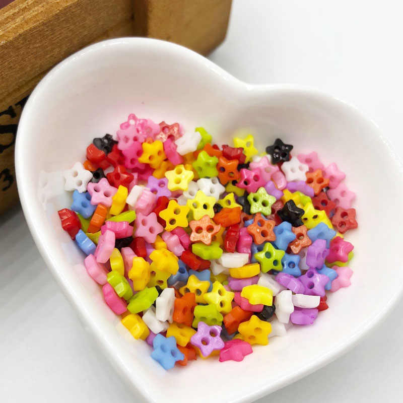 100Pcs/lot 6mm Star mini resin buttons kid's apparel sewing accessories mix colors two holes DIY scrapbooking  PH212
