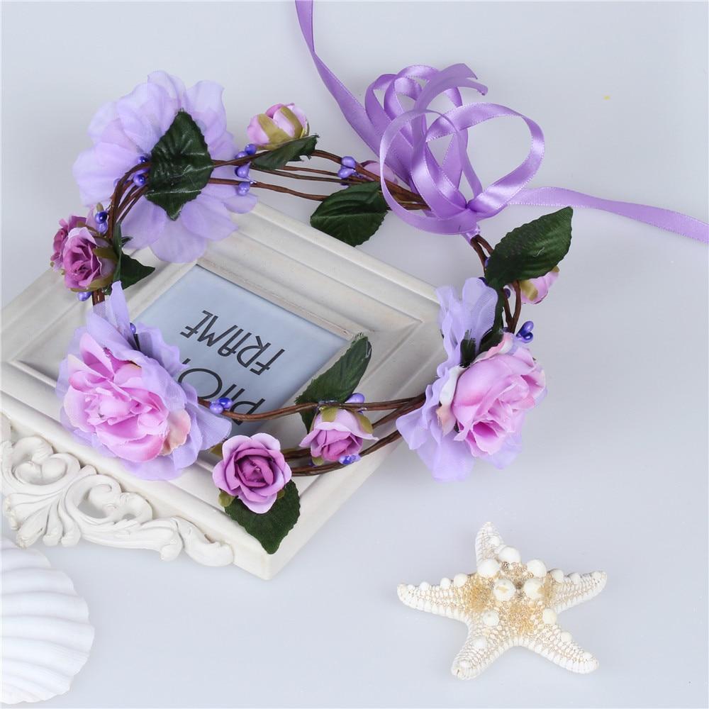 b1b39ccd Summer Rose Wreaths Wedding Wreath Headband Bridal Crown artificial flowers  hair accessories Flower Girls Headpiece garlands-in Women's Hair Accessories  ...