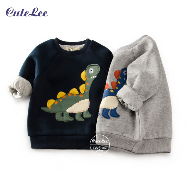 winter fashion Dinosaur pattern boys sport hoodies warm cotton padded sweatshirt children clothes baby kids coat jacket clothing