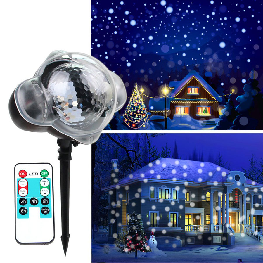 IP65 Moving Snowfall Laser Projector Lamp Outdoor Christmas Garden Landscape Light Wedding Party New Year Laser Stage Lawn Light