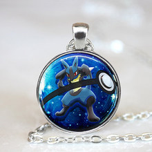 Lucario pokeball Pokemon collar/27mm colgante redondo regalo idea gamer Gear Cosplay(China)