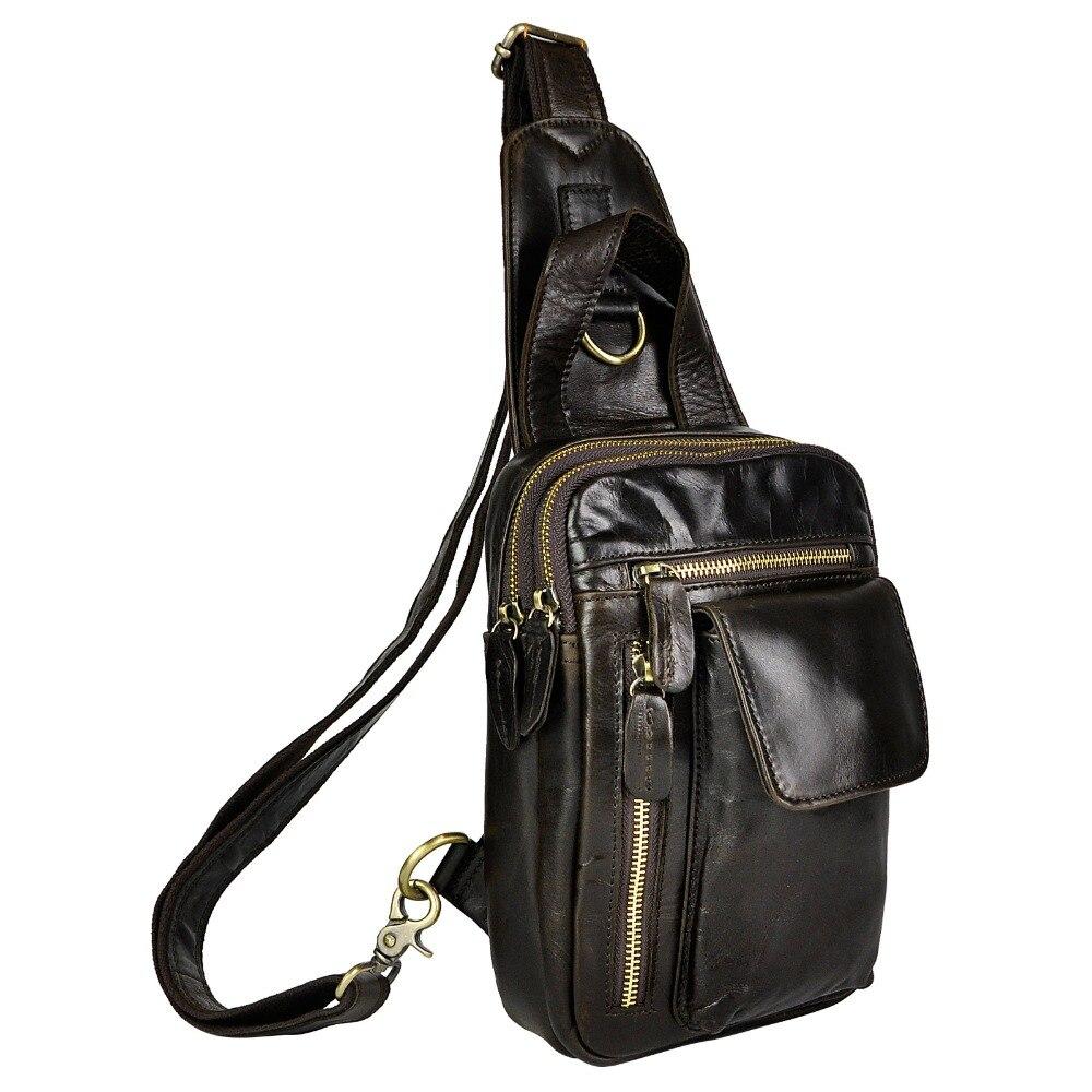 Top Quality Mens Genuine Real Leather Cowhide Vintage Waist Chest Pack Bag Sling Crossbody Bag Daypack B574