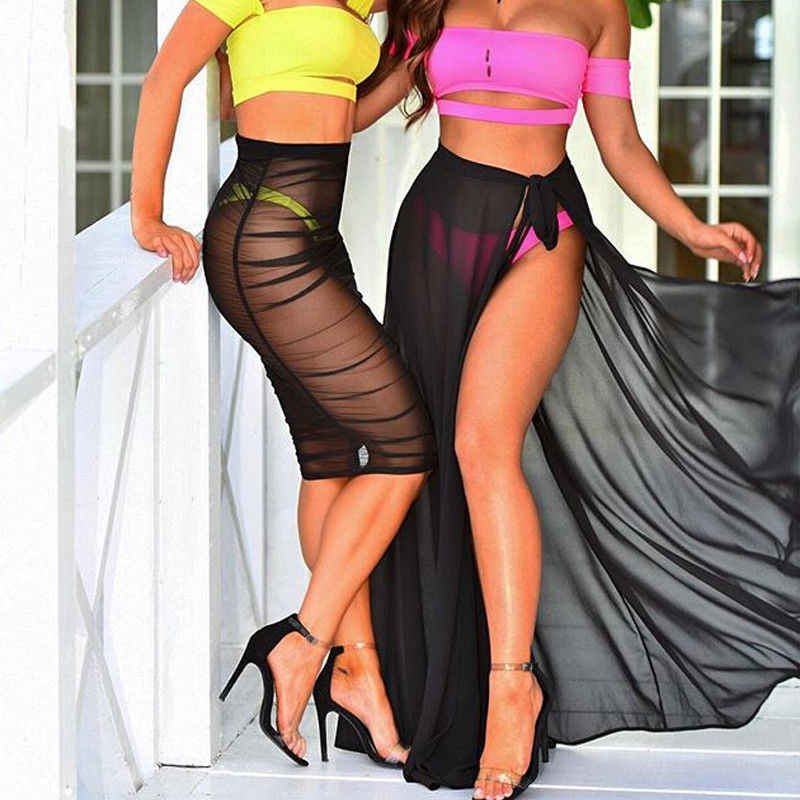 Falda larga de gasa de doble capa para mujer