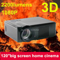 1 unid envío gratis nuevo Home Theater 2200 Lumens HDMI USB 1080 P LCD Mini FUll hD Video 3D LED Proyector Proyector Beamer Projetor