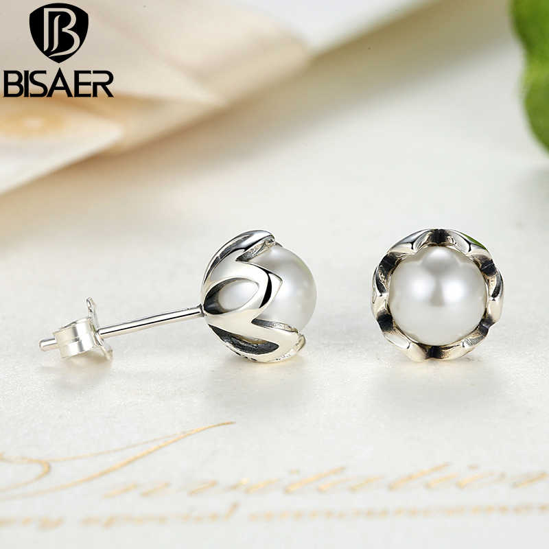 BISAER 925 Sterling Silver Simulated Pearl Cultured Small Stud Earrings White Fresh Pearl Valentine's Day Gift Fashion Jewelry