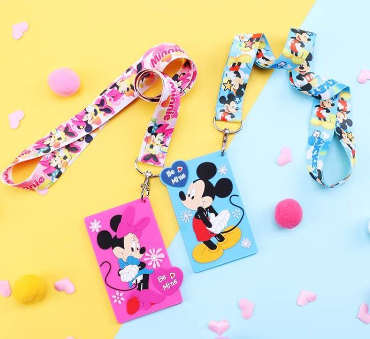 1 Pcs Retail Mickey Minnie   Neck Strap Card Bus ID Holders Identity Badge Lanyard   T-31