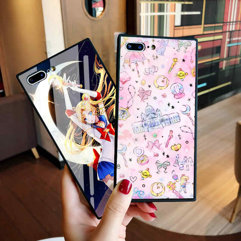 e012234be77 Luxury Japan Anime Tempered Glass Case for iPhone 8 Case Sailor Moon Case  for iphone X