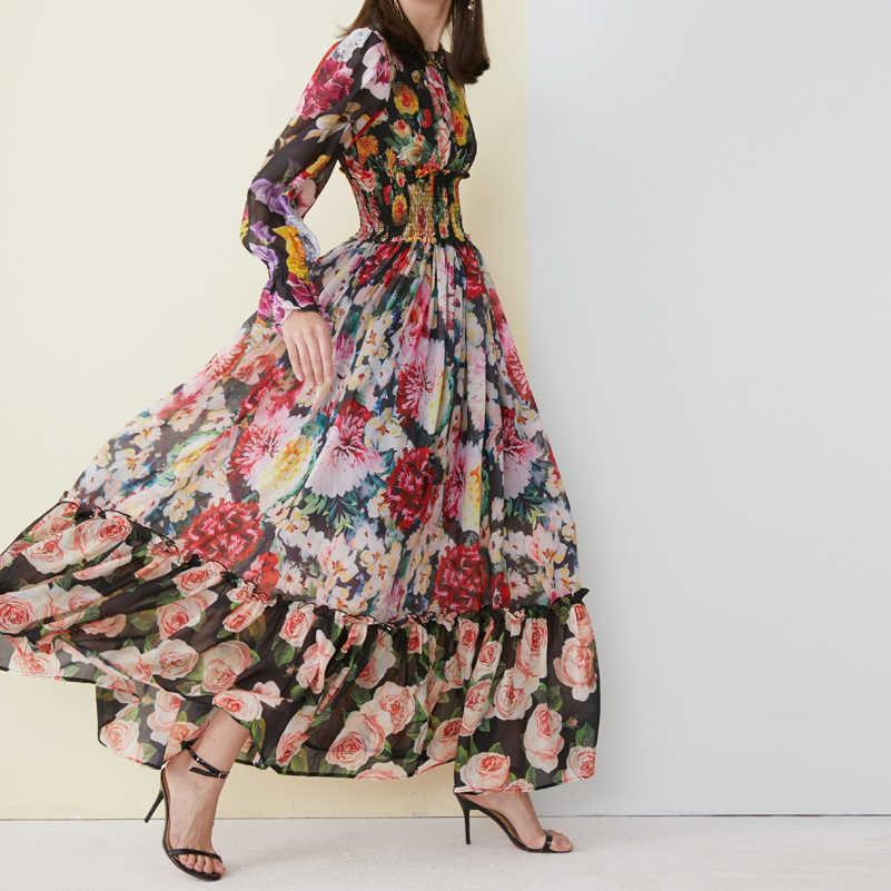איכות גבוהה 2019 חדש אופנה מקסי שמלת נשים של ארוך שרוול מדהים מודפס המותניים אלסטית בציר חוף שיפון ארוך שמלה