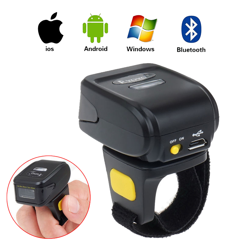 MJ-R30 Mini Bluetooth Ring 2D Scanner QR Code PDF417 DataMatrix Wireless Portable 2D QR Barcode Reader Bluetooth Scanner IOS