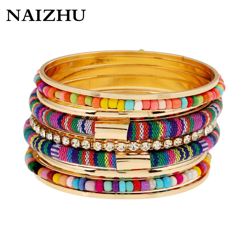 2018 Fashion Women Bangles colorful charm Bohemian Style Beads rhinestone bracelet Multilayer Hand Bracelets boho jewelry