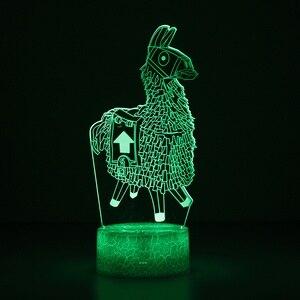 Image 2 - חדש 3D מנורת אלפקה הלמה מנורת לילה מצב רוח מנורת 7/16 צבע שינוי אור סדק בסיס עבור יום הולדת מתנות צעצועי ילדים לילה אורות
