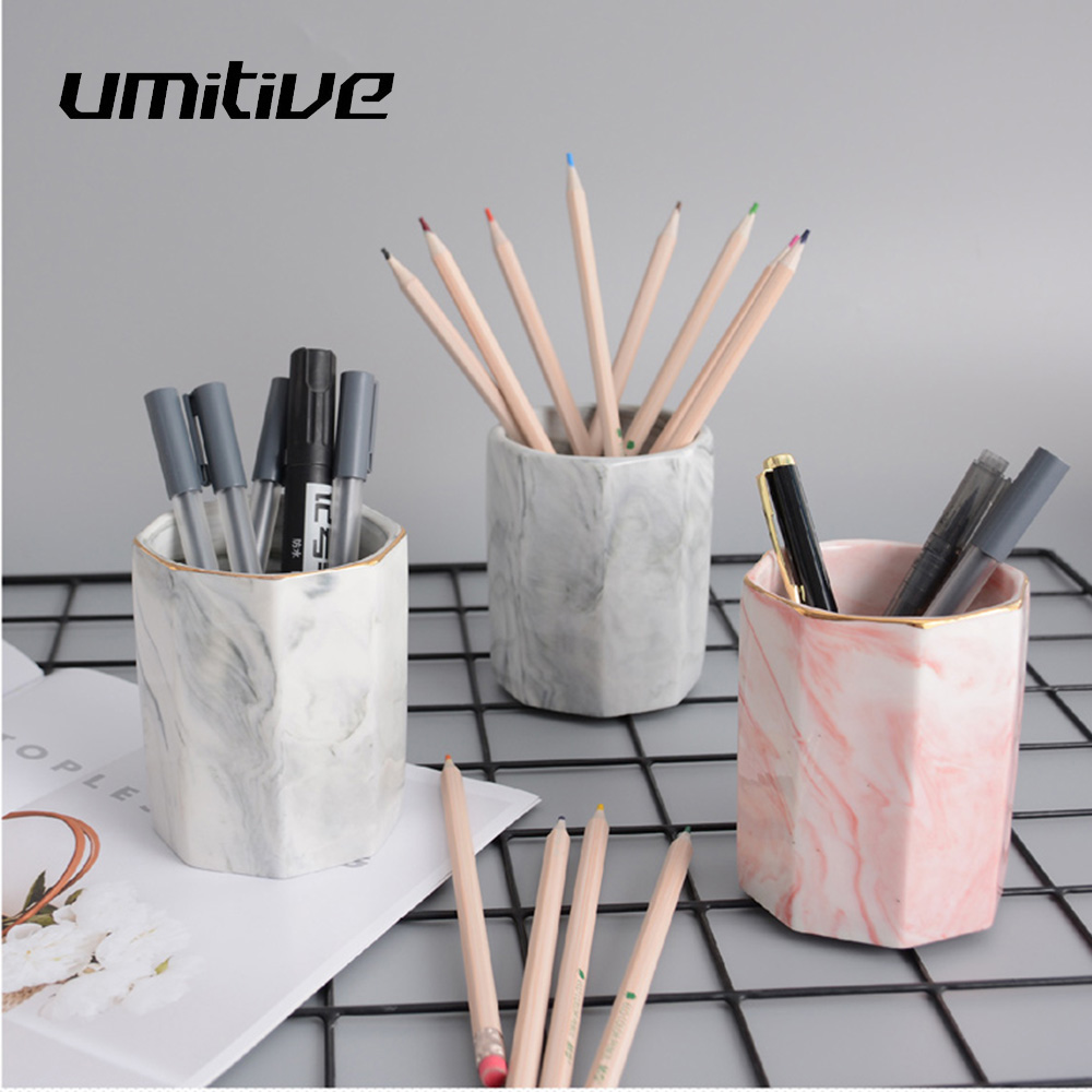 Umitive 1pcs Creative Marble Pen Holder Makeup Brush Storage Box Home Office Desktop Storage Supplies