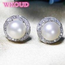 S925 Sterling Silver Earrings 7-8mm Natural Pearl Rose Stud Earrings Fashion Party wedding Earrings Pearl Jewelry For Women