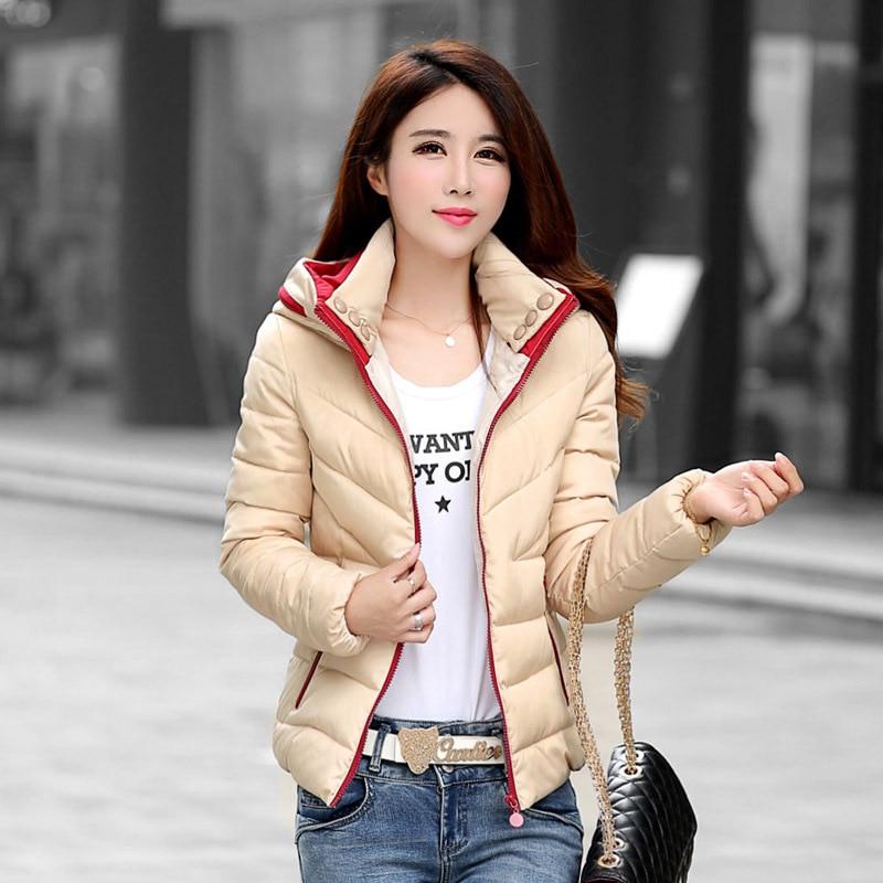 2016 الجديدة الشتاء القطن مبطن الإناث الكورية خياطة اللون الإناث الأزياء سترة مقنعين الإناث قصيرة