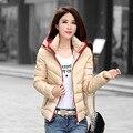 2016 novo inverno de algodão acolchoado feminino Coreano feminino com capuz cor de costura moda feminina jaqueta curta