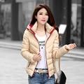 2016 nuevo invierno de algodón acolchado con capucha femenina de Corea corto femenino costuras de color chaqueta de moda femenina