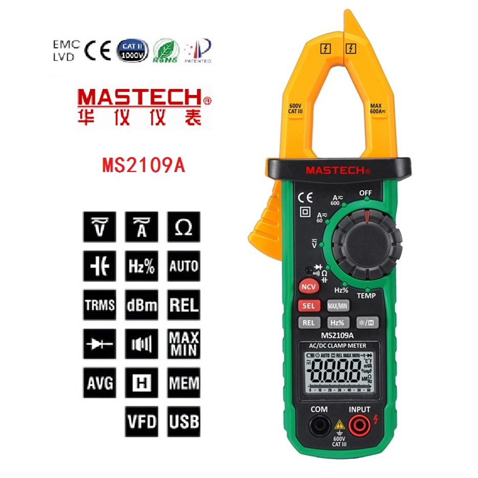 MASTECH MS2109A Auto Ranging Digital AC/DC Clamp Meter True RMS 600A Volt Amp Ohm Frequency Capacitance Temperature NCV Tester