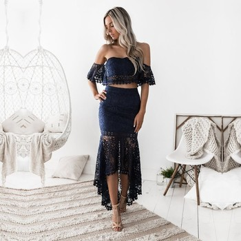 Navy Blue Sweetheart A Line Homecoming Dresses Two Pieces Sexy Graduation Dress Gown Lace High Low Real - discount item  25% OFF Special Occasion Dresses