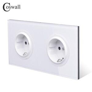 Image 4 - Coswall panneau en verre trempé pur, 16a, prise électrique murale Double normes ue, sortie au sol avec serrure de protection pour enfants